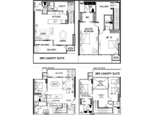 Canopy Suite Unit Floor Plan of Arbor Lanes luxury condo in Arca South by Ayala Land Premier