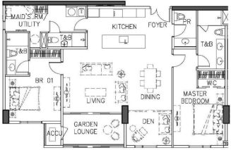 Floor Plan of a Grand 2BR Unit in Arbor Lanes - Ayala Land Premier's Luxury Residential Condo in Arca South Taguig